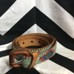 BELT BROWN LEATHER WOVEN AZTEC PRINT 1