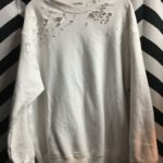 DISTRESSED WITH HOLES PULLOVER CREWNECK SUPER SOFT WHITE 1