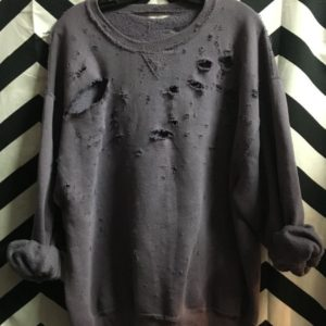 DISTRESSED WITH HOLES PULLOVER CREWNECK SUPER SOFT PURPLE 1