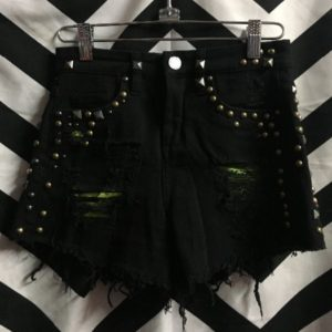 SMALL BLACK DRNIM STUDDED SHORTS GREEN INSIDE LINING 1