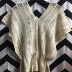 OPEN KNIT CROCHET V NECK CINCHED TIE WAIST TOP 1