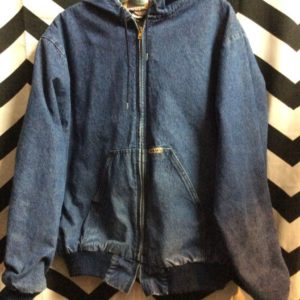 HOODED DICKIES DENIM ZIP UP BOMBER JACKET AZTEC PATTERN LINING 1