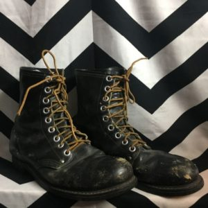 STEEL TOE 9 EYELET LACEUP LEATHER BOOTS 1