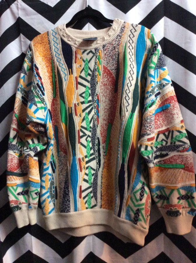 Vintage Coogi Style Cotton Sweater Abstract Pattern 1