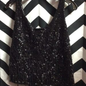 SLEEVELESS CROPPED SEQUIN & BEADED TANK KNIT LINED 1