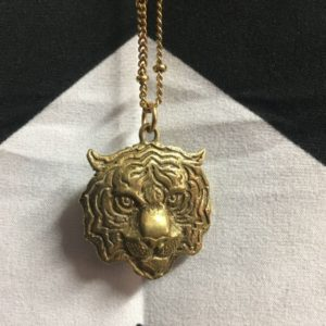 TIGER FACE PENDANT NECKLACE THIN CHAIN 1