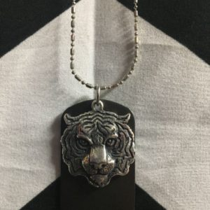 TIGER FACE PENDANT & DOG TAG NECKLACE THIN CHAIN 1