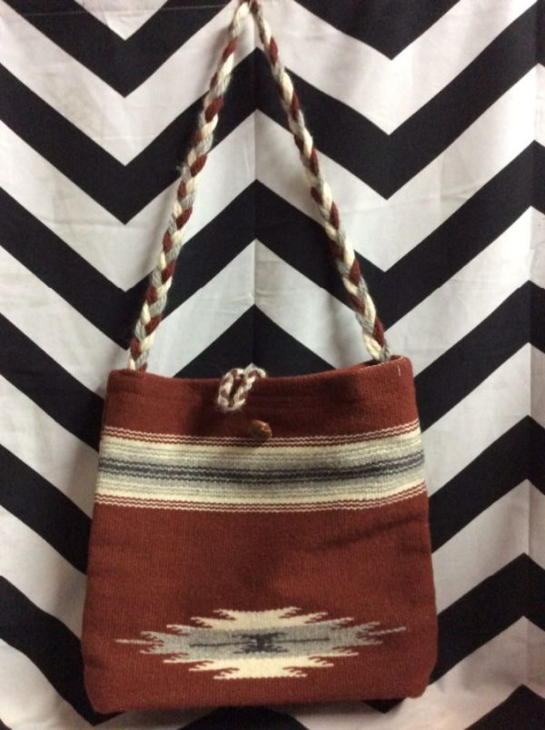 HANDWOVEN WOOL BAG W/ BRAIDED STRAP SILKY INNER LINING 1
