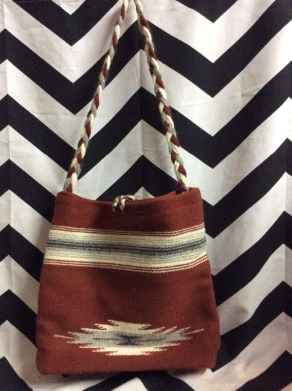 HANDWOVEN WOOL BAG W/ BRAIDED STRAP SILKY INNER LINING 2