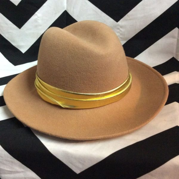 product details: 100% WOOL FELT FEDORA HAT W/ METALLIC BAND photo