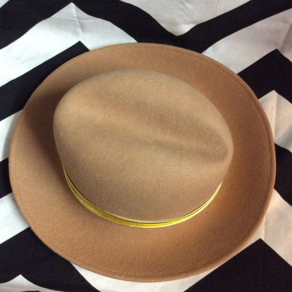 100% WOOL FELT FEDORA HAT W/ METALLIC RIBBON 2