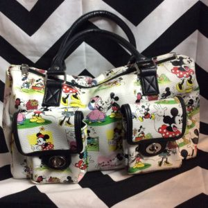 MICKY AND MINIIE PURSE SHORT STRAPS TWO OUTSIDE POCKETS AS IS 1