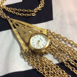 NECKLACE WATCH WITH GOLD DANGLE CHAINS 1