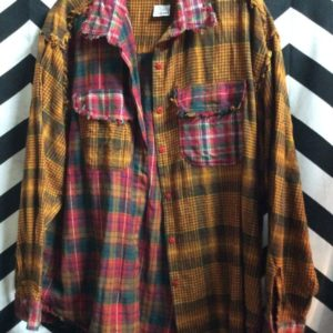 SOFT LS BD SPLIT PATCHWORKED FLANNEL SHIRT 1