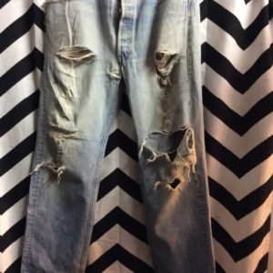 LEVIS 501XX MADE IN USA FRAYED POCKETS NATURAL RIPPED W36 L34 1