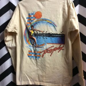 LS TSHIRT TROPIX SURFER ORANGE SUN PALM TREE GRAPHIC 1