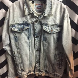 90s Acid wash denim jacket Native american screen print back w/ removable sherpa lining 1
