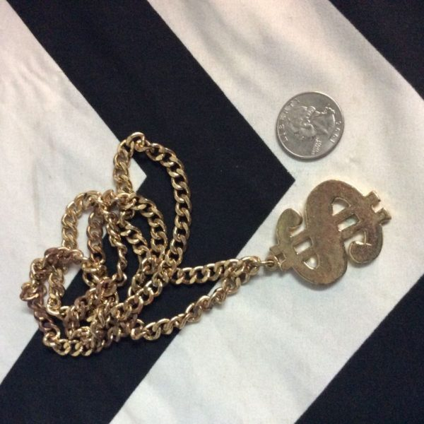 GOLD DOLLAR SIGN NECKLACE 2