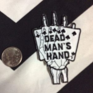 SKELETON HAND HOLDING DEAD MAN'S CARD HAND BACK PATCH – SMALL 1