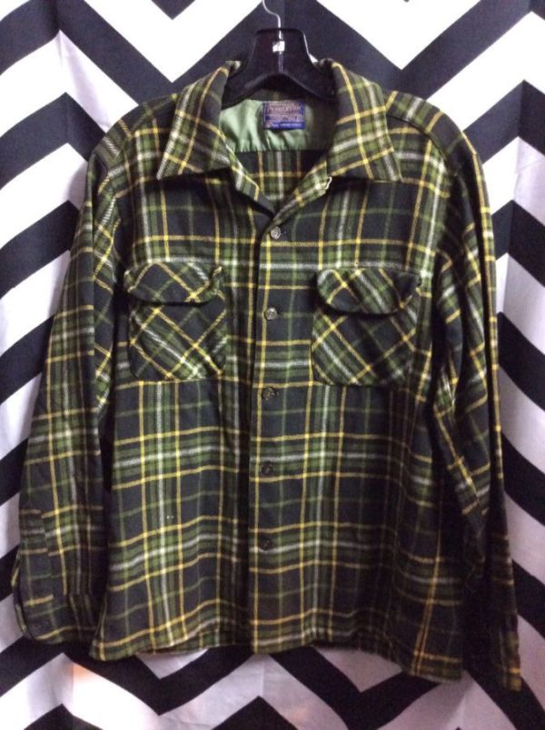 LS BD green wool flannel shirt as/is 2