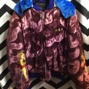 VELVET EMBROIDERED KOREA SOUVENIR BOMBER JACKET W/ DRAGON AND HOOD 1