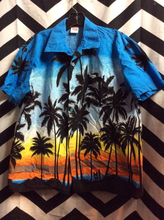0b156133094d BAHAMAS BEACH SUNSET PALM TREES SURFERS PRINT HAWAIIAN SHIRT ...