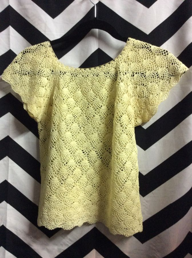Retro Crochet Top W Cap Sleeves Boardwalk Vintage