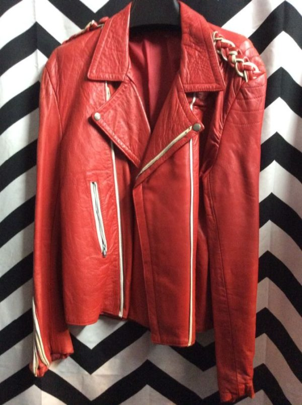 product details: RED LEATHER JACKET MOTO STYLE WHITE PIPING BRAIDED SHOULDERS AS-IS photo