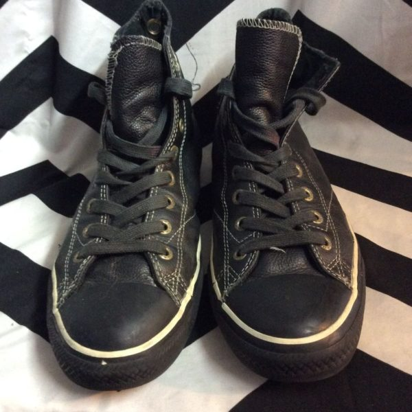 product details: CONVERSE ALL STAR HIGH TOP BLACK LEATHER  WHITE TRIM SHOES US10.5 photo