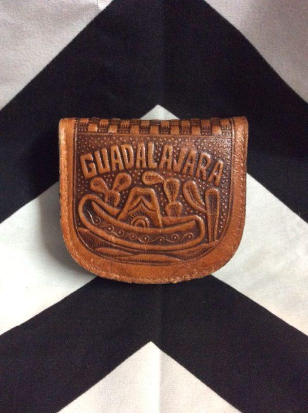 product details: GUADALAJARA MEXICO TOOLED LEATHER CHANGE PURSE photo