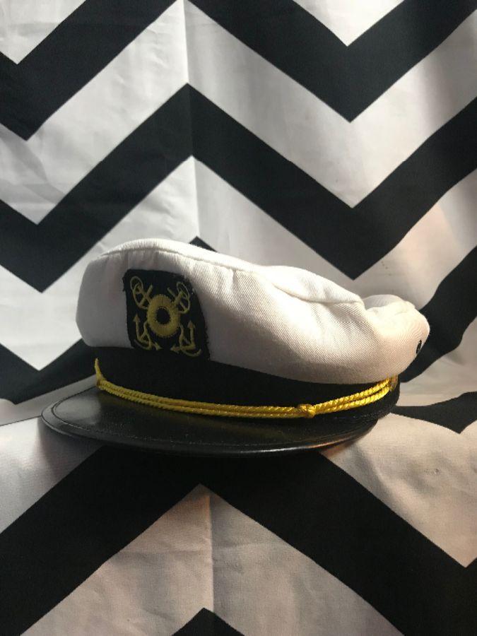 SHIP CAPTAINS HAT W/ ANCHOR DESIGN ON FRONT