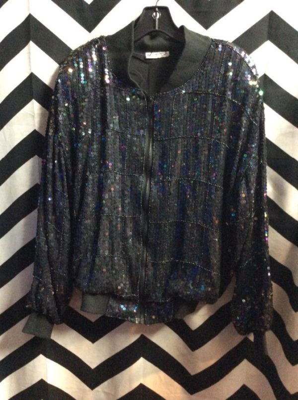 product details: 1980'S SEQUIN BOMBER JACKET W/ BEADED GRID DESIGN photo