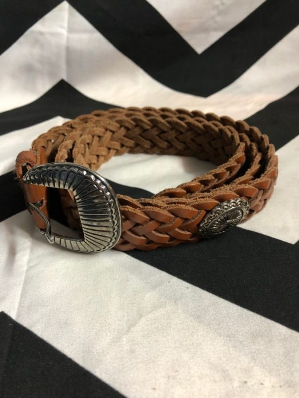 product details: BELT W/ BRAIDED LEATHER & SILVER MEDALLIONS photo