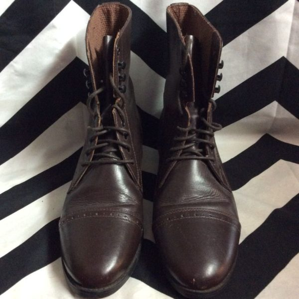 PADDOCK STYLE LEATHER LACE-UP EQUESTRIAN BOOTS