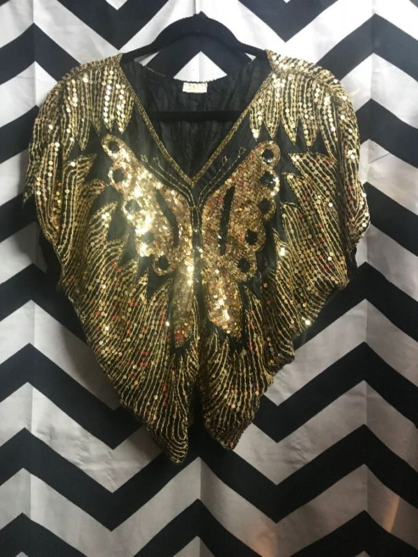 1970'S-1980'S TOP W/SEQUINED BUTTERFLY DESIGN