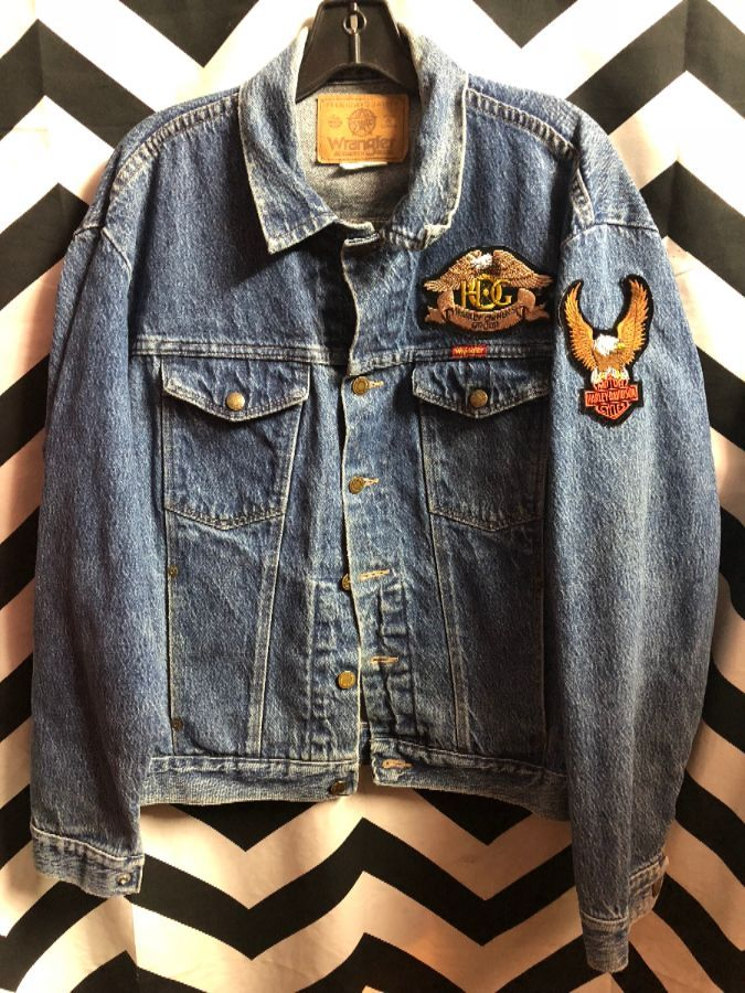 2ede5a710192 WRANGLER DENIM JACKET W/ HARLEY DAVIDSON PATCHES » Boardwalk Vintage