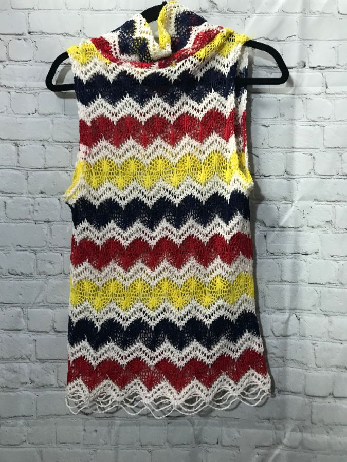 Crochet Sweater Vest W Cowl Neck Chevron Pattern Boardwalk Vintage