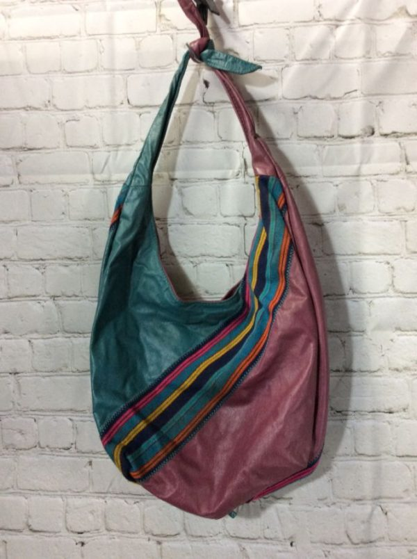RETRO PATCHWORK LEATHER & COTTON SHOULDER BAG