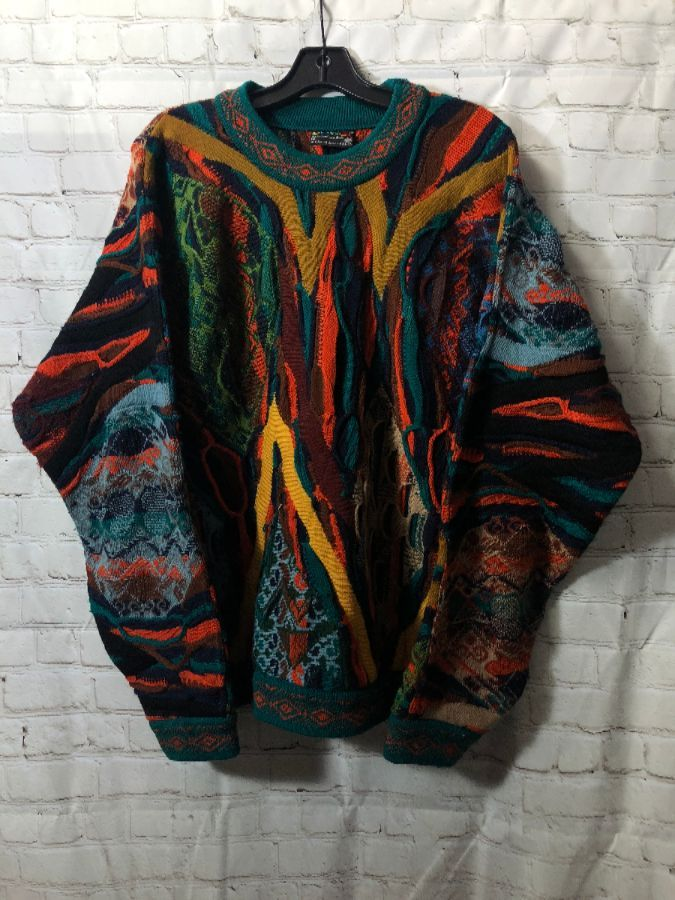 Coogi Sweater Knit Multi Color Mixed Media As Is