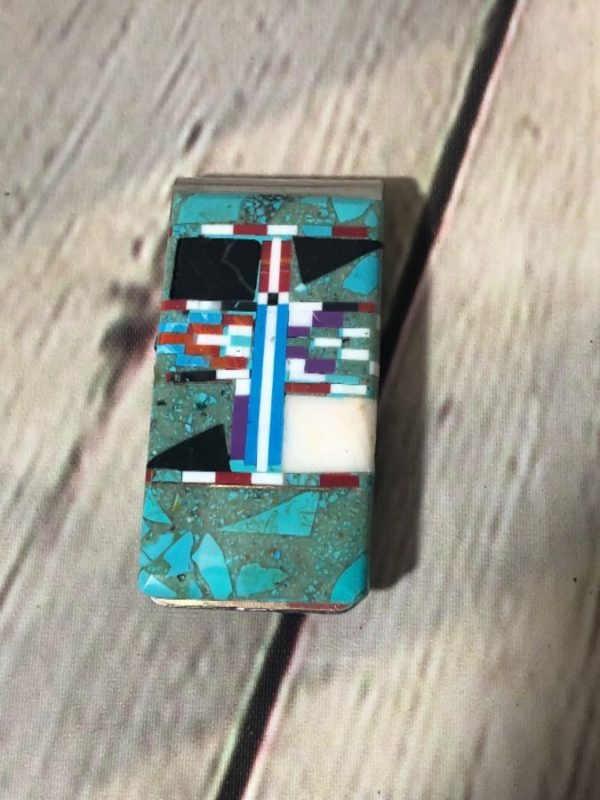 product details: NATURAL MIXED STONE INLAY MONEY CLIP TURQUOISE photo