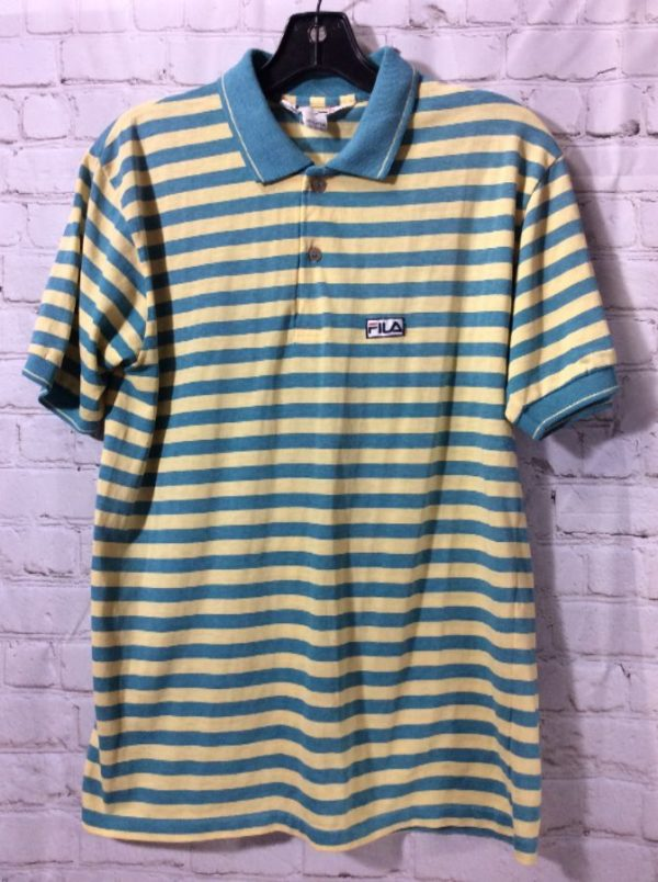 product details: RETRO POLO STRIPE 2 BUTTON COLLARED SHIRT photo