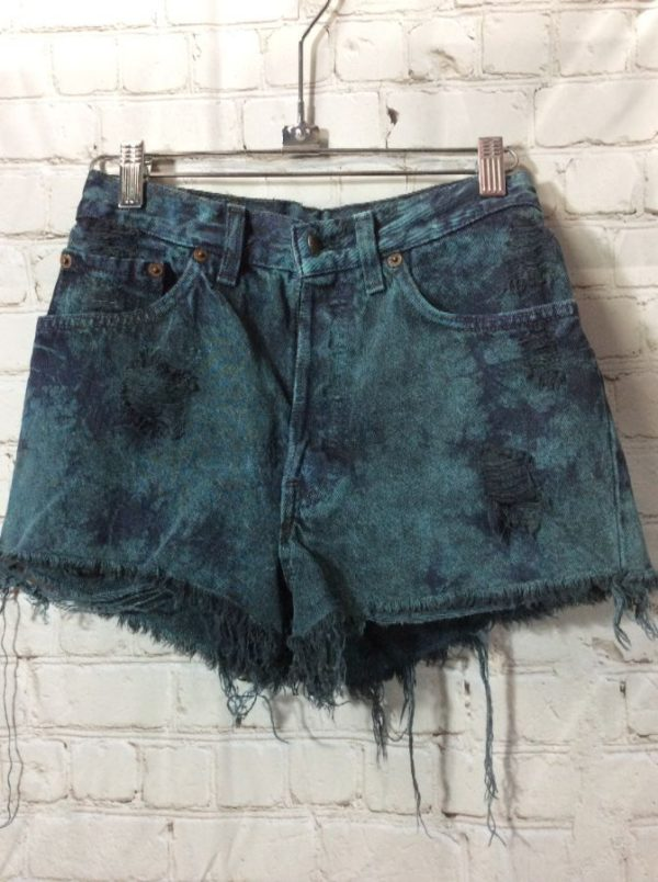 product details: LEVIS DENIM SHORTS TIE-DYED BUTTON-UP FLY FRAYED RED TAG photo