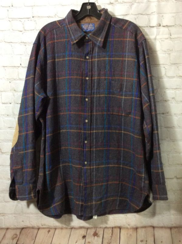 PLAID PENDLETON SHIRT W/ LEATHER ELBOW PATCHES