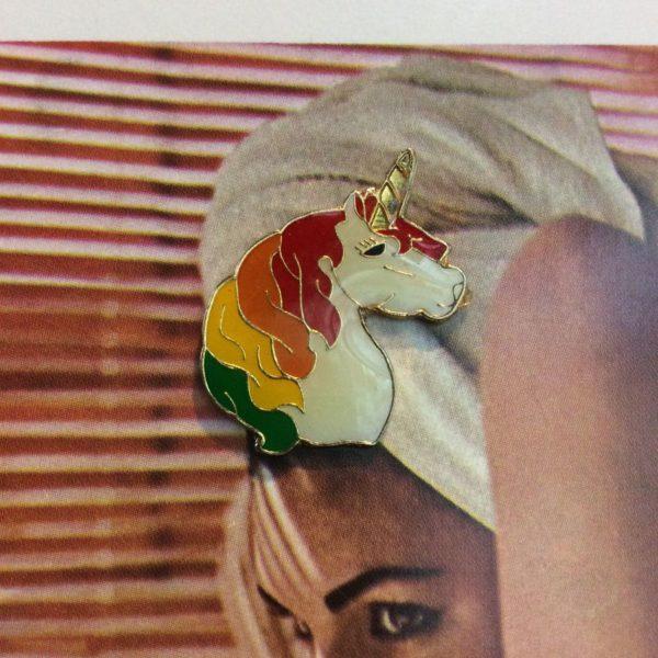 product details: BW ENAMEL PIN - UNICORN HEAD W/ RAINBOW MANE photo