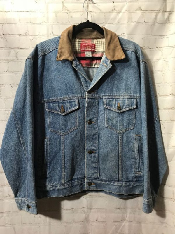 product details: MARLBORO DENIM JACKET W/ LEATHER COLLAR photo