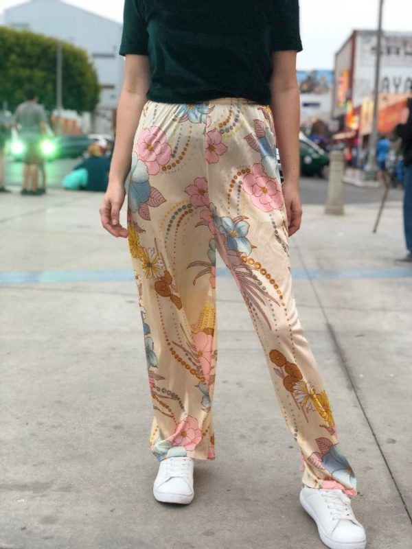 SOFT THIN ELASTIC WAIST FLORAL PATTERN PANTS