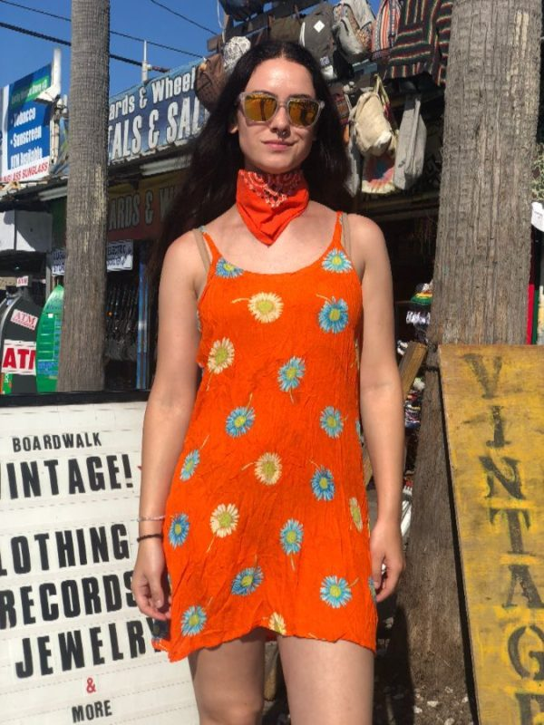 product details: BRIGHT SUNFLOWER PRINT MINI DRESS 1990'S photo