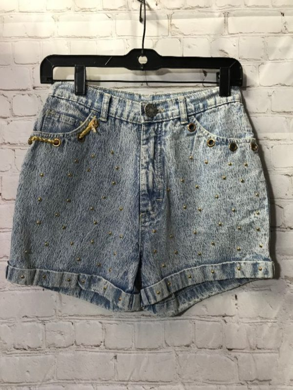 product details: CUFFED STUDDED & GROMETED ACID WASH SHORTS AS IS photo