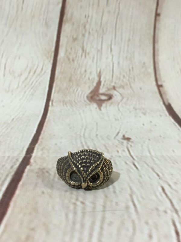 product details: BRASS METAL OWL FACE RING photo