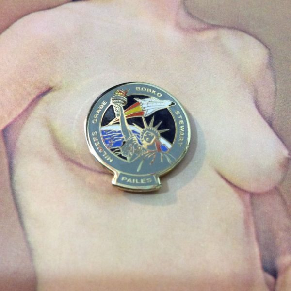 product details: NASA SPACE SHUTTLE LADY LIBERTY HILMERS BOBKO PAILES STEWART PIN photo